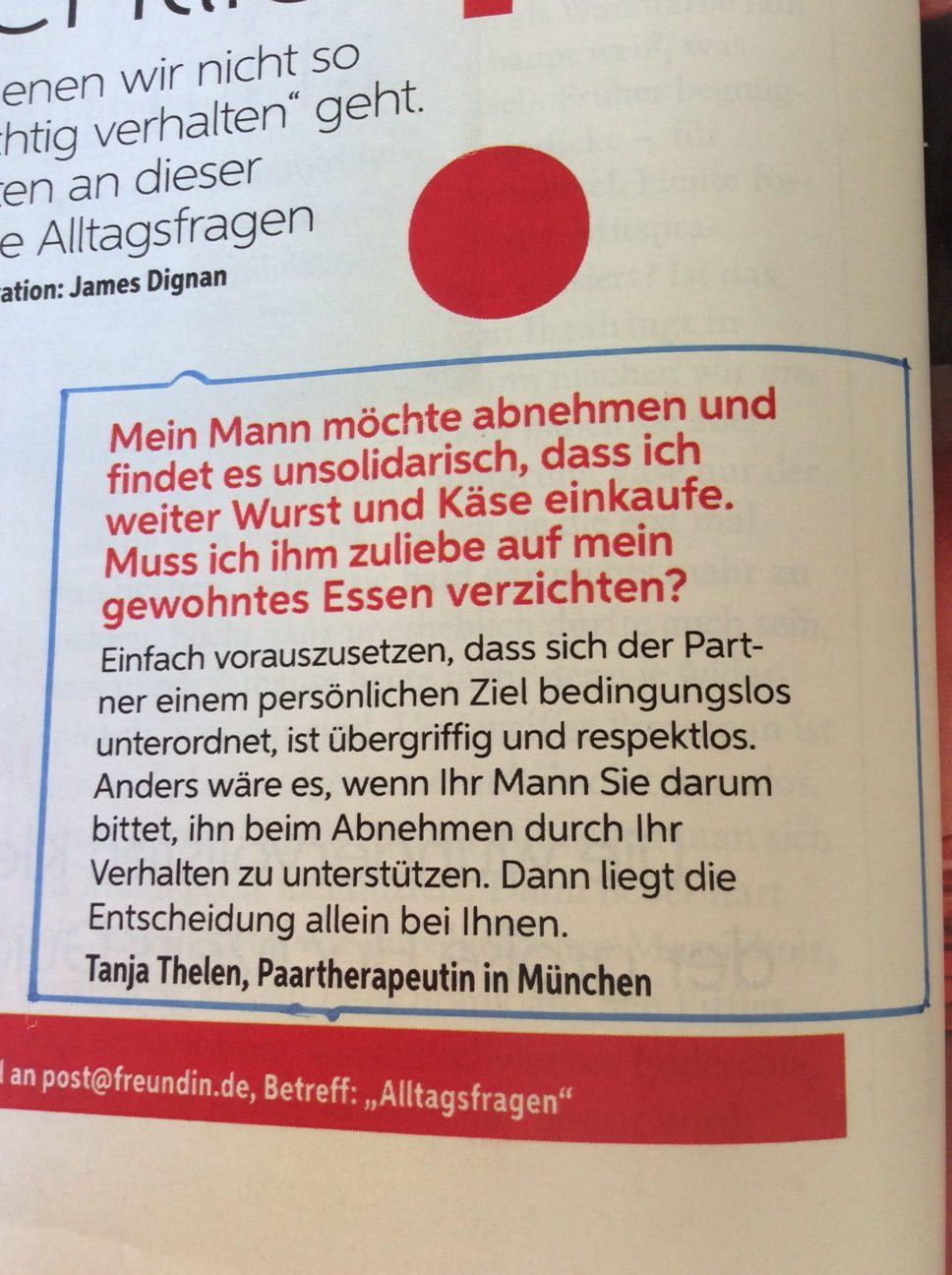 """Interview mit Tanja Thelen in der """"Freundin"""" zu Thema abnehmen"""